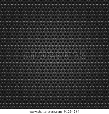 Seamless texture black metal surface dotted perforated background