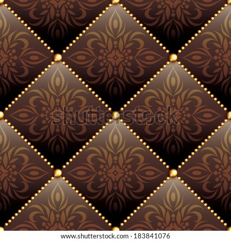 Seamless texture brown leather quilted with  ornament and gold buttons