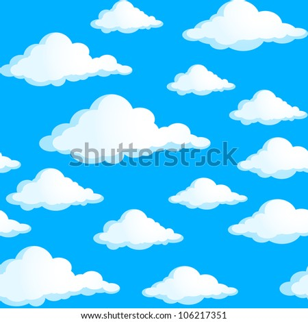 Seamless texture of clouds. Illustration on blue background.