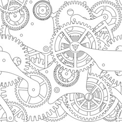 Seamless texture of gear and cogwheel in black and white.