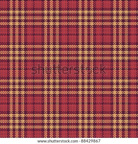 Seamless texture of rough cotton fabric with plaid