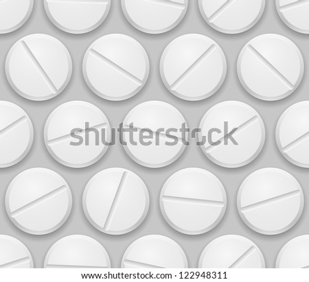 Seamless texture realistic pills on gray background