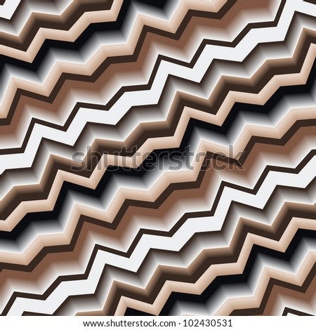 Seamless texture with art 3d zigzag brown line