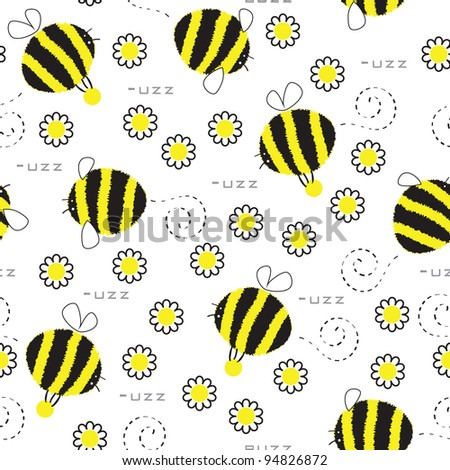 Seamless texture with bees who collect honey