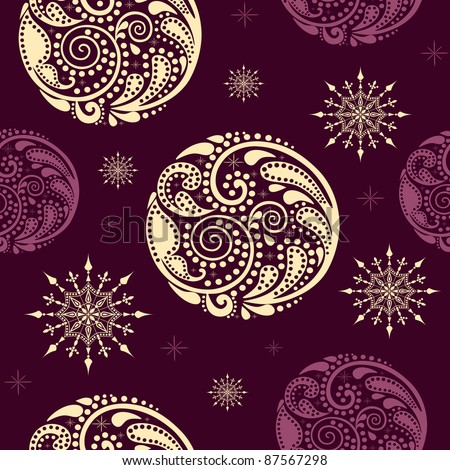 Seamless texture with circles of leaf pattern and snowflakes.