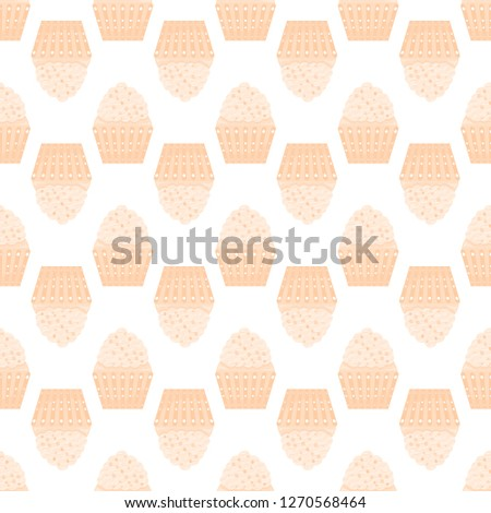Seamless texture with cupcakes on a white background #1270568464