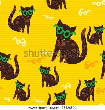 seamless texture with cute cats wearing glasses. Kittens among pattern