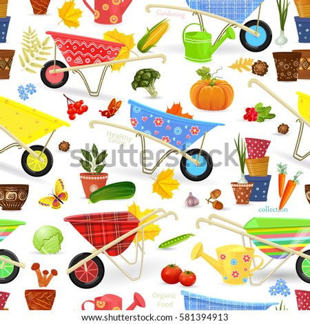 seamless texture with equipment garden and vegetables #581394913