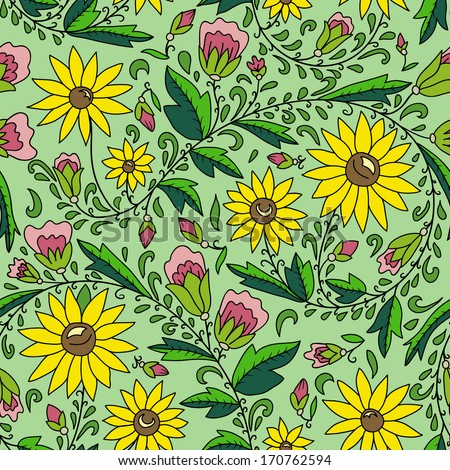 seamless texture with  flower, sunflower, leaves, buds. Use as a pattern fill, backdrop, seamless texture.