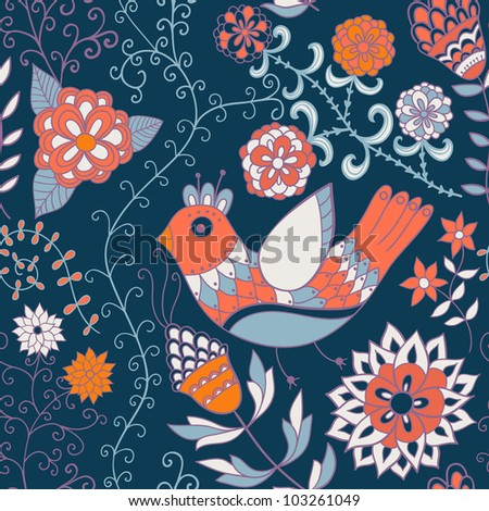 Seamless texture with flowers and birds. Endless floral pattern