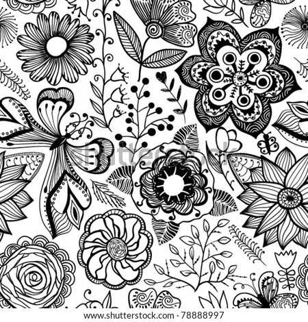 Seamless texture with flowers and butterflies. Endless floral pattern, black and white pattern.