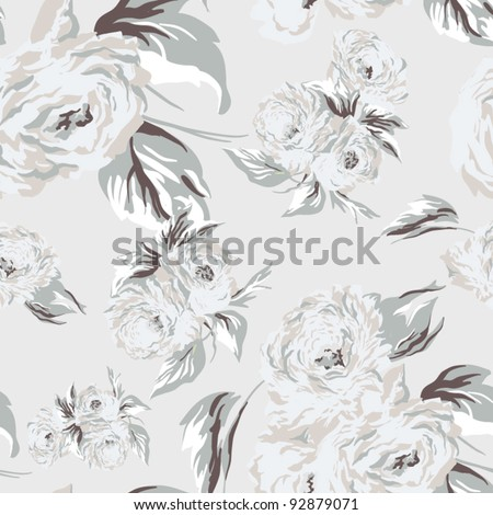 Seamless texture with flowers.  Endless floral pattern.  Vector background for textile design in vintage style