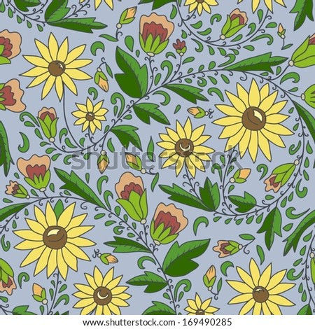 seamless texture with flowers, sunflower, leaves, buds