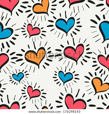Seamless texture with funny hearts