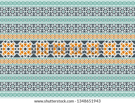 Seamless texture with luxury arabic ornament. Vector border pattern #1348651943