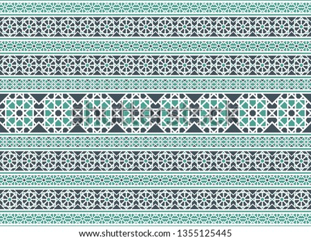 Seamless texture with luxury arabic ornament. Vector border pattern #1355125445