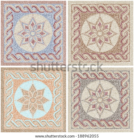 Seamless texture with multicolored mosaics in the Byzantine style/Antique mosaic/Mosaic tiles in antique style