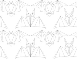 Seamless texture with outline poligonal bats in a row. Halloween holiday. Animal origami. Paper zoo. Vector line art pattern for fabrics, backgrounds and your creativity.