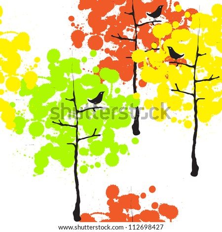 Seamless texture with the image of a black colored trees and birds./ Autumn forest