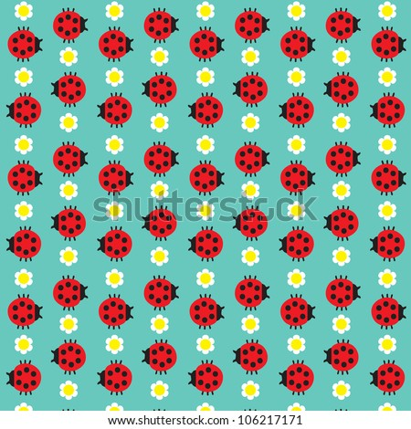 Seamless texture with the image of the ladybug and daisy / Ladybugs and flowers