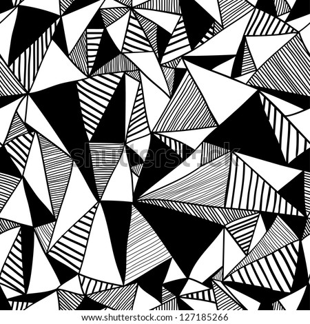Seamless texture with triangles, mosaic endless pattern. Black and white.