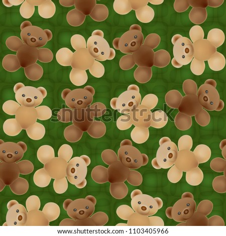 stock-vector-seamless-textured-background-with-plush-teddy-bears-in-brown-and-beige-tones-on-green-background