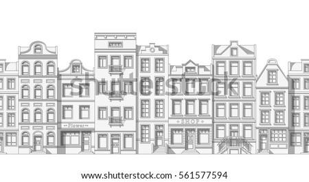 seamless thin line cityscape