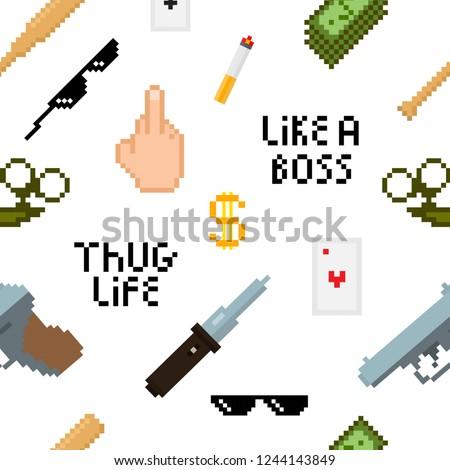 seamless thug life pattern with