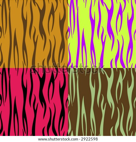 stock vector SEAMLESS tiger animal print background in four funky color