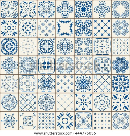 Seamless tile pattern. Colorful lisbon, mediterranean floral ornament pattern. Square flower blue mocaic. Islam, Arabic, Indian, Turkish, Pakistan, Chinese Moroccan, Portuguese Ottoman motifs. vector.