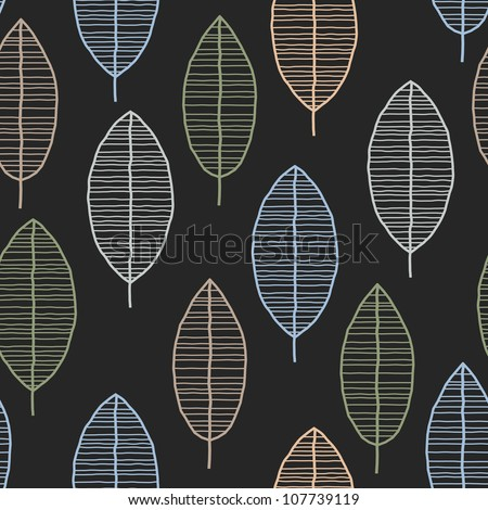 Seamless Tile With 50s Retro Leaf Pattern - stock vector