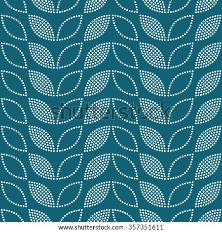 Seamless tiled turquoise geometric background of leaves and petals. Grid. Dotted mosaic pattern. Vector illustration.