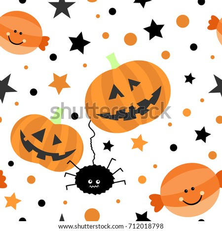 Seamless tiling cute Halloween vector texture with pumpkins, spider, candy, stars and dots. Great for wrapping paper, backgrounds, fabric, wallpaper, pattern fill or web page background.