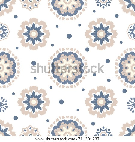 Seamless tiling  vector texture with mandalas and dots. Great for wrapping paper, backgrounds or fabric.Can also be used for wallpaper, pattern fill, web page background.