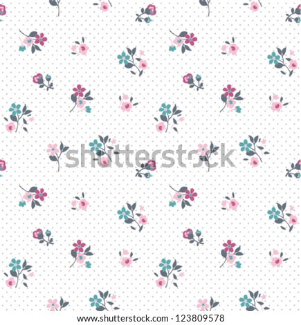 seamless tiny flower background vector pattern