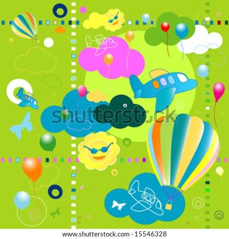 seamless toys pattern, funny background for kids
