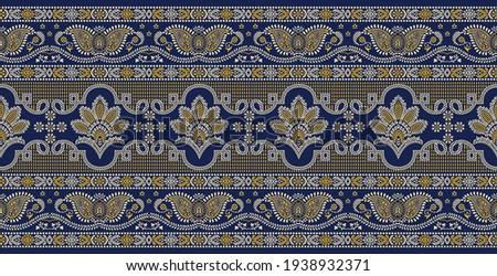 Seamless traditional Asian paisley border design