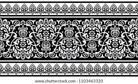 Seamless traditional black and white indian border #1103463320