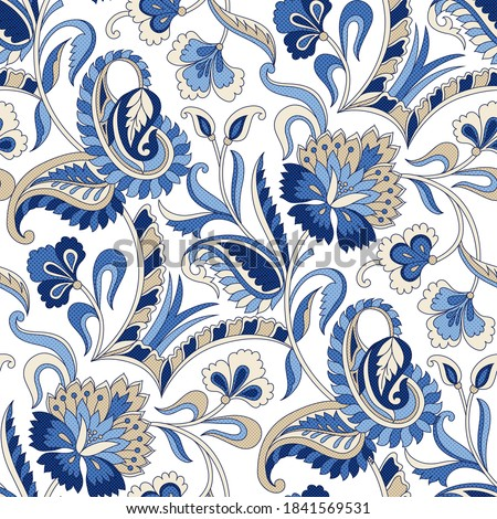 seamless traditional Indian blue  paisley pattern