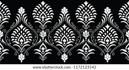Seamless traditional indian monochrome border #1172123542
