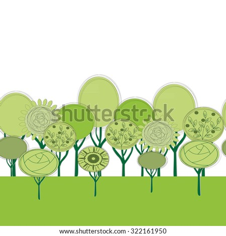 seamless trees landscape flat