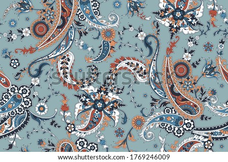 Seamless trendy background with paisley in Indian style