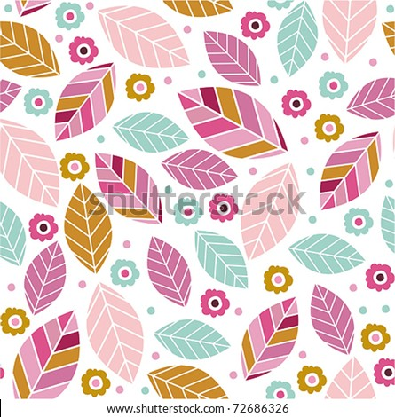 Seamless Trendy Pattern design with flowers and leafs