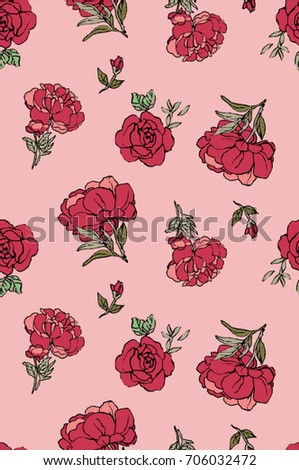 Seamless Trendy Red Roses Pattern in Vector