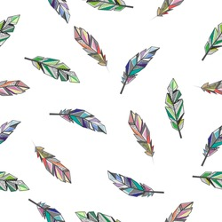 Seamless tribal boho background with different feather silhouettes