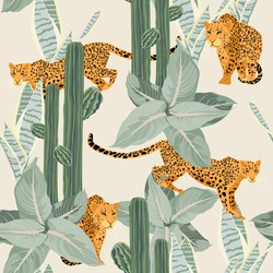Seamless tropical desert pattern background with leopard, cacti and plants isolated on light background. Perfect for wallpapers, web page backgrounds, surface textures.