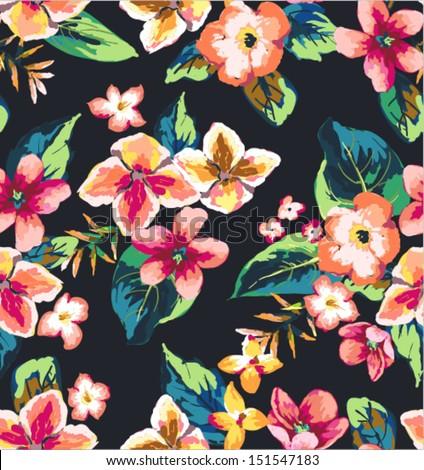 seamless tropical flower dark background vector pattern
