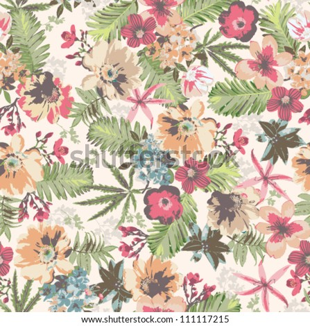 seamless tropical flower pattern on background - stock vector