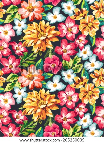 seamless tropical flower vector pattern background