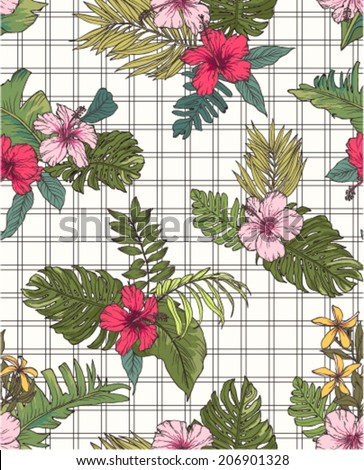 seamless tropical flower with check pattern background